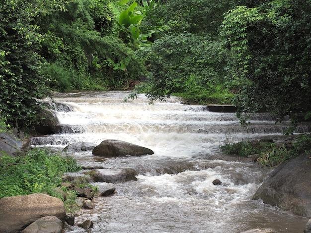 Movimento del flusso d'acqua alla diga di controllo