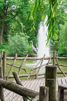 Fontana di acqua nel parco volkspark friedrichshain di berlino, airone sorge su una ringhiera in legno