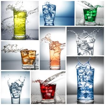Bicchiere da collage con spruzzi d'acqua