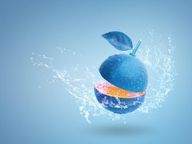 Acqua che spruzza sulla calce blu fresca isolata su fondo blu Foto Premium