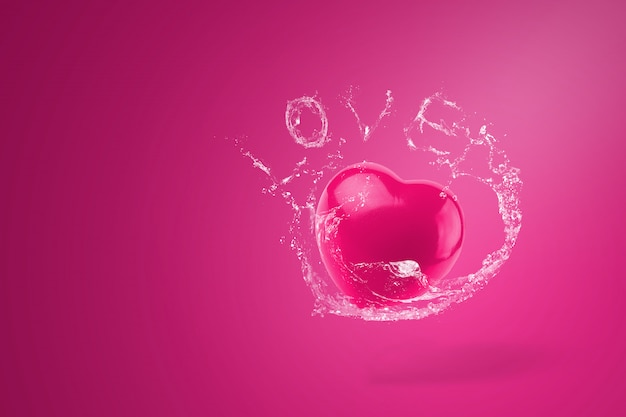 Spruzzi d'acqua su cuori rossi su sfondo rosso. concetto di san valentino.
