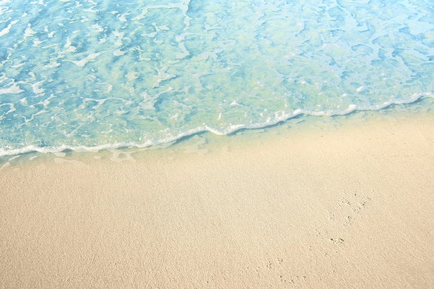 Onde d'acqua sulla spiaggia sabbiosa