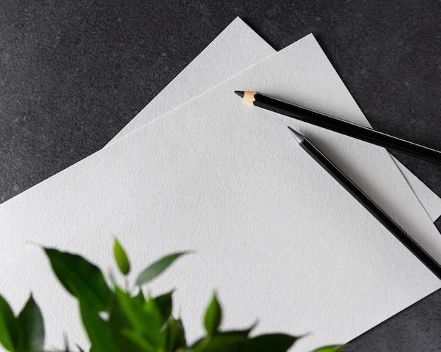 Carta a4 dell'acquerello con matite nere e pianta su fondo nero.