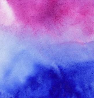 Acquerello astratto sfondo blu e rosa o viola, disegno a mano