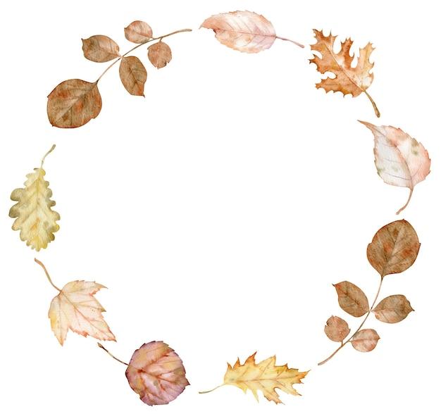 Cornice del cerchio autunno dell'acquerello. corona fatta di foglie e fiori autunnali disegnati a mano. biglietto di auguri o invito. illustrazione botanica. modello autunnale per il design