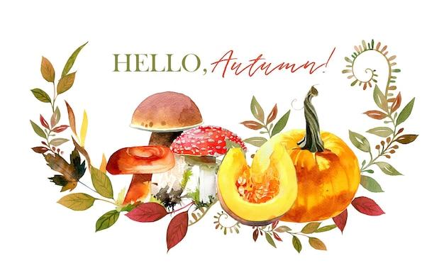 Sfondo di illustrazione autunnale dell'acquerello modello di manifesto festivo di concetto di autunno design autunnale vintage di bosco illustrazione di disposizione di funghi e zucca