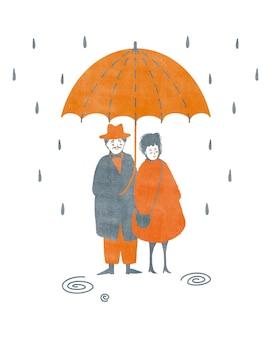 Illustrazione di autunno dell'acquerello con un paio di persone in piedi sotto l'ombrello isolato su bianco