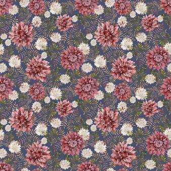 Sfondo acquerello di astri e crisantemi cremisi e bianchi. reticolo senza giunte dei fiori di caduta. sfondo autunnale. biglietto d'auguri