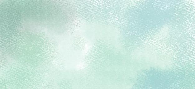 Sfondo acquerello nei colori verde e blu, schizzi di colori pastello morbidi e macchie con pittura al vivo di frangia in forme di nuvole astratte con carta