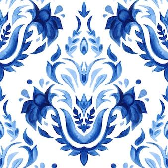 Disegno floreale disegnato a mano del damasco blu dell'acquerello.