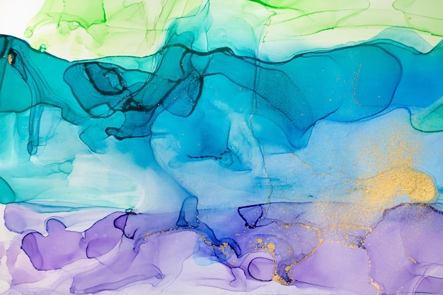 Acquerello blu e viola astratto sfondo sfumato con polvere d'oro