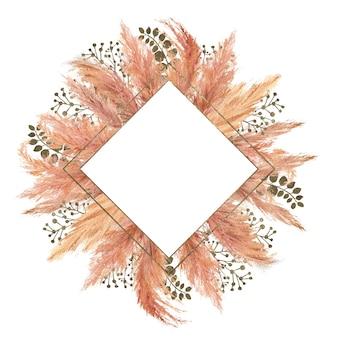 Mazzo di boho dell'acquerello con erba di pampa secca e cornice geometrica d'argento su isolato su priorità bassa bianca. illustrazione floreale per il design di matrimoni o vacanze di inviti, cartoline, stampa
