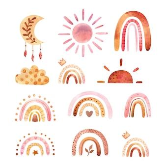 Clipart boho acquerello per la decorazione della scuola materna con arcobaleni carini e luna sole nuvola doodle disegnato a mano illustrazione