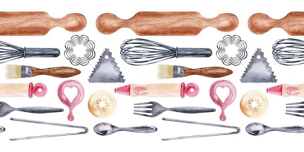 Bordi dell'acquerello con strumenti da cucina e dolci natalizi