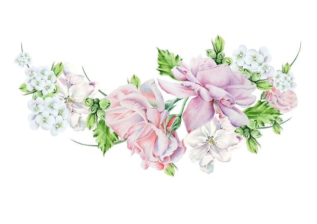 Mazzo dell'acquerello con fiori. fiore. rosa. illustrazione. disegnato a mano.