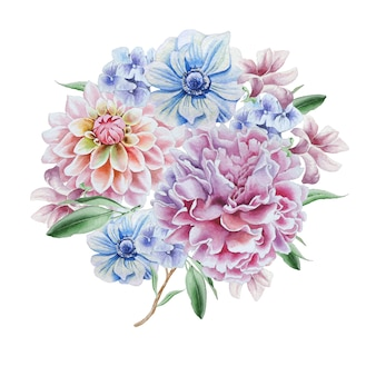 Mazzo dell'acquerello con fiori. dalia. anemone. peonia. disegnato a mano.