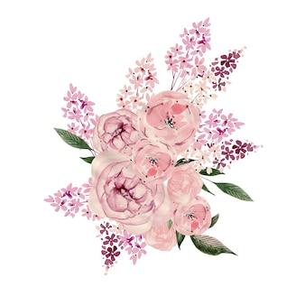 Mazzo dell'acquerello con fiori. illustrazione