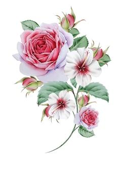 Bouquet acquerello con fiori e foglie. illustrazione. disegnato a mano.