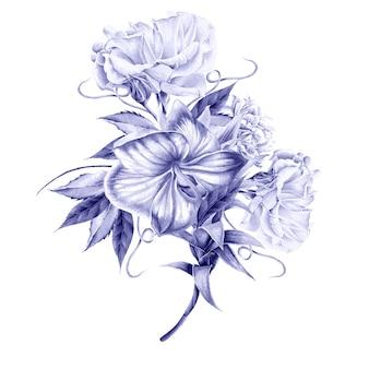 Mazzo dell'acquerello con fiori. orchidea. rosa. illustrazione. disegnato a mano.