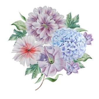 Mazzo dell'acquerello con fiori. peonia. ortensia. disegnato a mano.