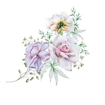 Mazzo dell'acquerello con fiori. rosa. illustrazione. disegnato a mano.