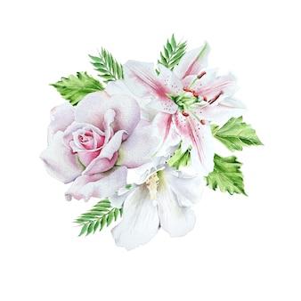 Mazzo dell'acquerello con fiori. rosa. giglio. illustrazione. disegnato a mano.