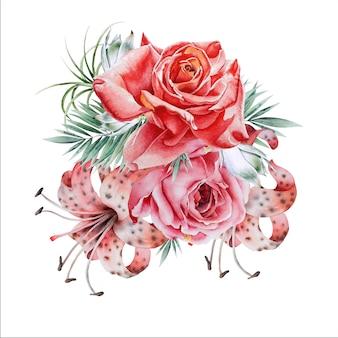 Mazzo dell'acquerello con fiori