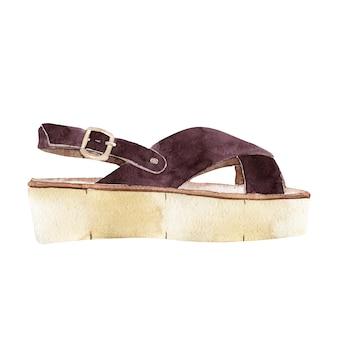 Sandalo marrone dell'acquerello isolato su priorità bassa bianca