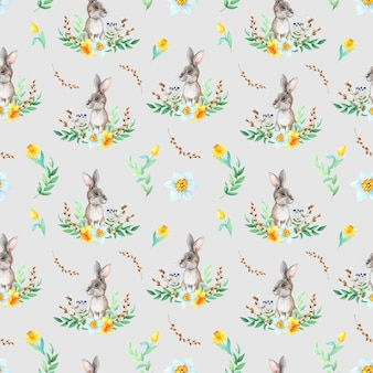 Coniglietto dell'acquerello con motivo di disegno su sfondo grigio. concetto di pasqua.
