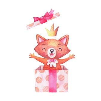 Ragazza volpe personaggio acquerello in corona divertente che salta fuori da una confezione regalo e il coperchio vola. animali dei cartoni per un compleanno