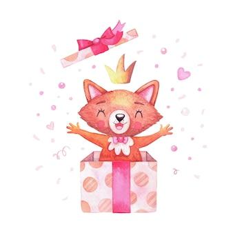 Ragazza volpe personaggio acquerello in corona divertente che salta fuori da una confezione regalo e il coperchio vola.