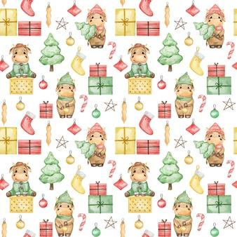 Modello senza cuciture di tori di natale dell'acquerello 2021, sfondo carino nuovo anno, carta da parati natalizia del fumetto, stampa tessile di natale