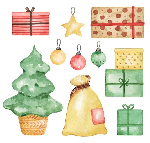Clipart di decorazioni natalizie dell'acquerello, albero di abete rosso e regali, confezione regalo, elementi di capodanno, stampabili