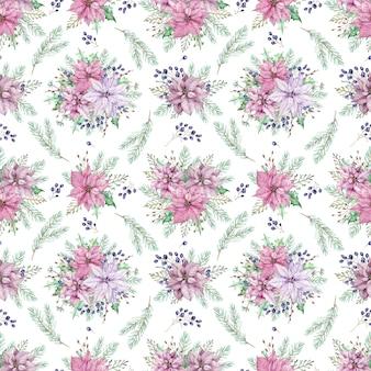 Fondo floreale di natale dell'acquerello con rami di pino. modello senza cuciture con poinsettia e bacche blu.