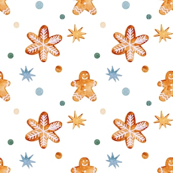 Reticolo senza giunte dell'acquerello di natale con stelle di pan di zenzero e fiocchi di neve