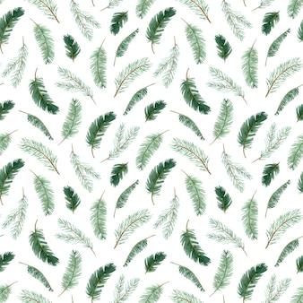Modello senza cuciture del ramo di albero di natale dell'acquerello. priorità bassa del ramo di pino invernale. illustrazione botanica disegnata a mano rami sempreverdi. il modello del nuovo anno.