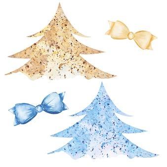 Acquerello albero di natale clipart, albero di capodanno, nastro nei colori blu e gialli, alberi di natale di colore, foresta, baby shower invita, card design, festa invernale