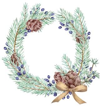 Corona di pino e coni di inverno di natale dell'acquerello e carta di capodanno isolato su sfondo bianco