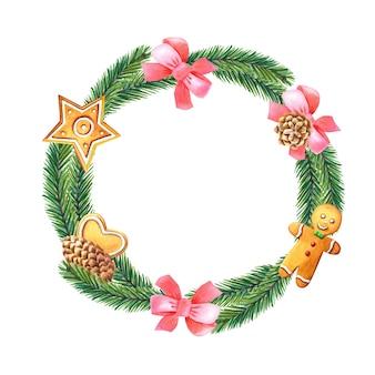 Corona di natale ad acquerello con albero verde, fiocco rosa, pino, omino di pan di zenzero, cuore, stella.
