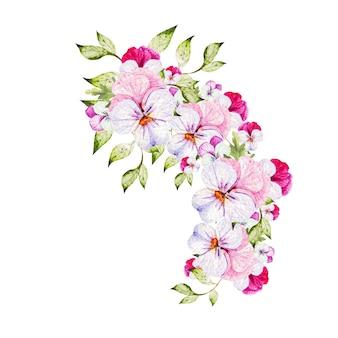 Bouquet colorato dell'acquerello con fiori viola del pensiero