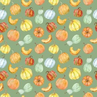 Modello di zucche colorate dell'acquerello. colori stagionali autunnali: arancione, giallo, rosso e verde. fondo di ringraziamento del raccolto della zucca. illustrazione d'autunno.