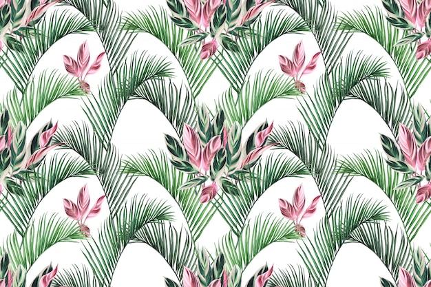 Acquerello colorato foglie tropicali seamless pattern di sfondo.