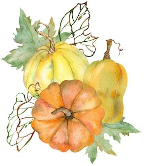 Composizione acquerello di zucche e foglie colorate. giorno del ringraziamento composizione di zucche gialle, arancioni, verdi.