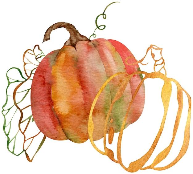 Composizione acquerello di zucche arancioni e rosse e foglie di sagoma. zucche del giorno del ringraziamento. illustrazione botanica isolato su sfondo bianco. sagoma di foglie.