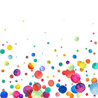 Coriandoli dell'acquerello su fondo bianco. puntini colorati arcobaleno ammirevoli. carta luminosa colorata quadrata felice celebrazione. affascinanti coriandoli dipinti a mano.