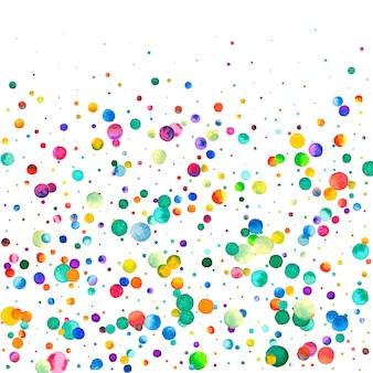 Coriandoli dell'acquerello su fondo bianco. puntini colorati arcobaleno ammirevoli. carta luminosa colorata quadrata felice celebrazione. coriandoli originali dipinti a mano.