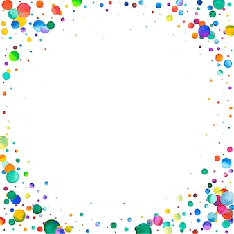 Coriandoli dell'acquerello su fondo bianco. adorabili puntini colorati arcobaleno. carta luminosa colorata quadrata felice celebrazione. simpatici coriandoli dipinti a mano.