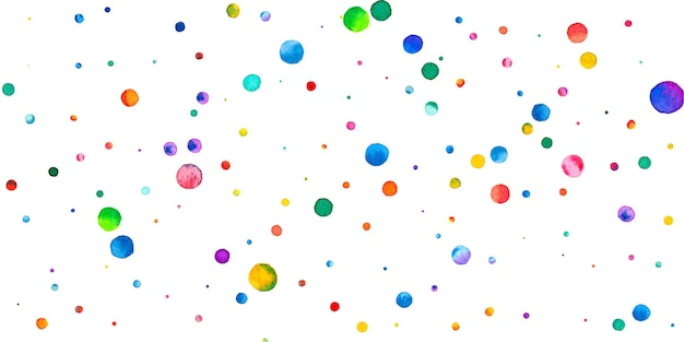 Coriandoli dell'acquerello su fondo bianco. adorabili puntini colorati arcobaleno. felice celebrazione ampia carta luminosa colorata. energici coriandoli dipinti a mano.