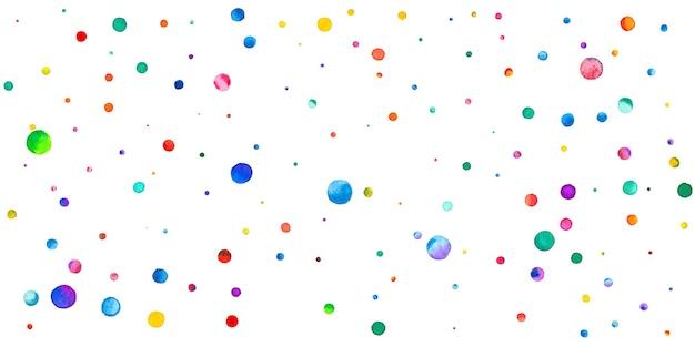 Coriandoli dell'acquerello su fondo bianco. adorabili puntini colorati arcobaleno. felice celebrazione ampia carta luminosa colorata. fantastici coriandoli dipinti a mano.