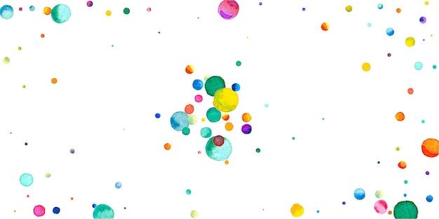Coriandoli dell'acquerello su fondo bianco. puntini colorati arcobaleno vivo. felice celebrazione ampia carta luminosa colorata. coriandoli grandi dipinti a mano.
